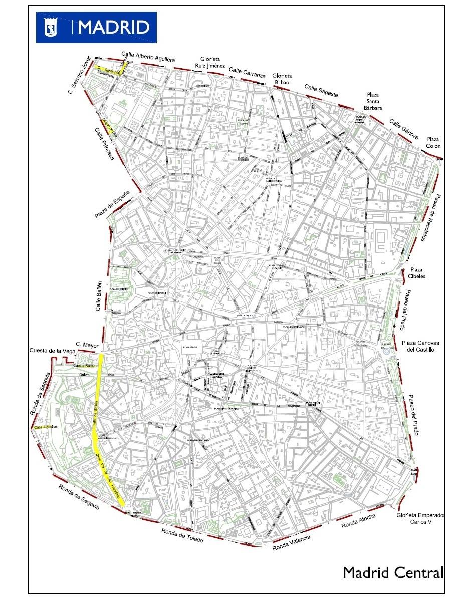 Madrid Central calles y perímetro