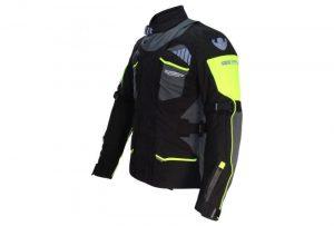chaqueta de moto negra y amarilla